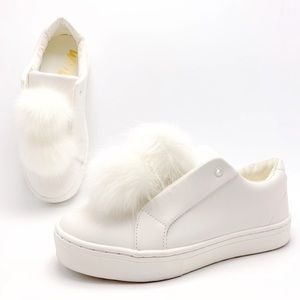 Sam Edelman Leya 8M White Poms Laceless Sneakers